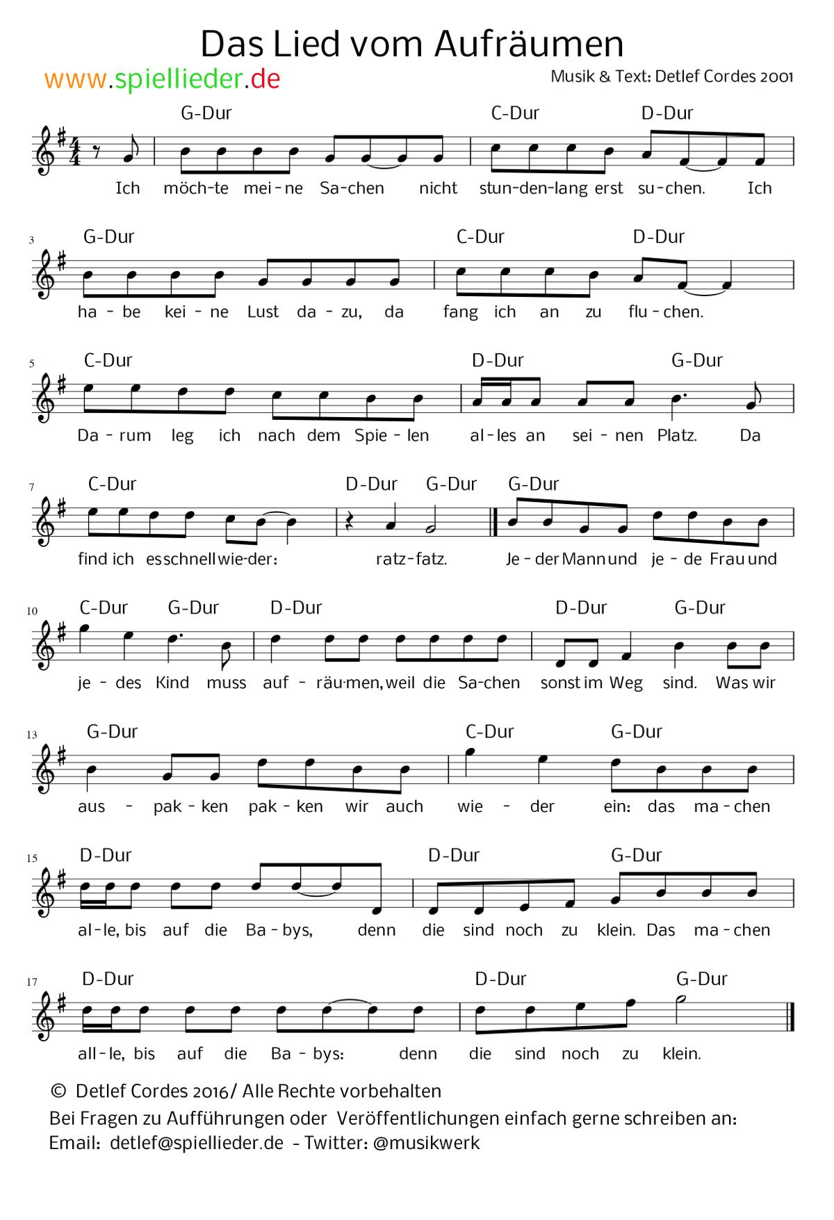 Noten - Aufräumen wie von selbst nach diesem einfachen Lied