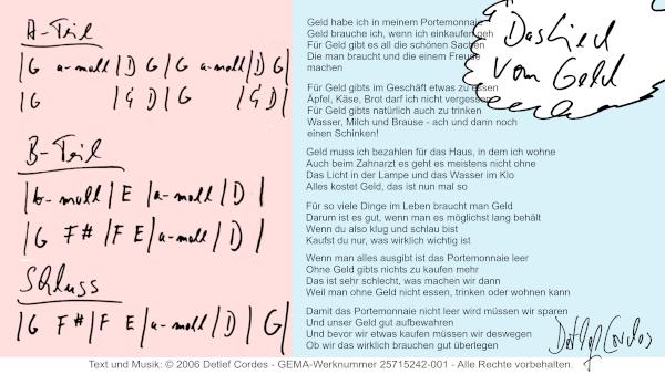 Akkordsymbole und Text auf einen Blic